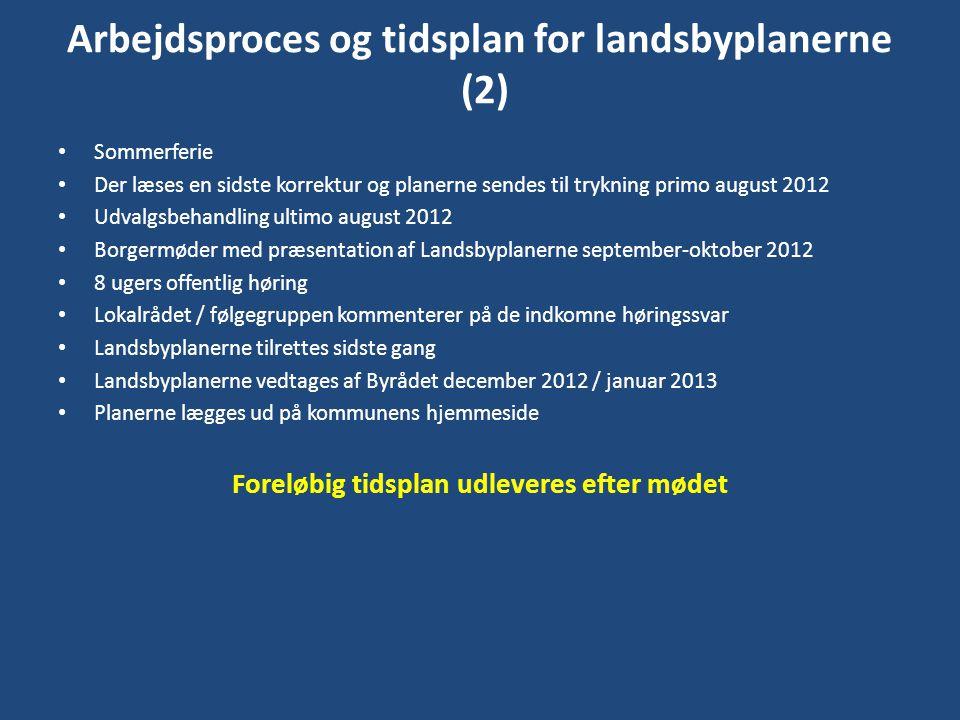 Arbejdsproces og tidsplan for landsbyplanerne (2)