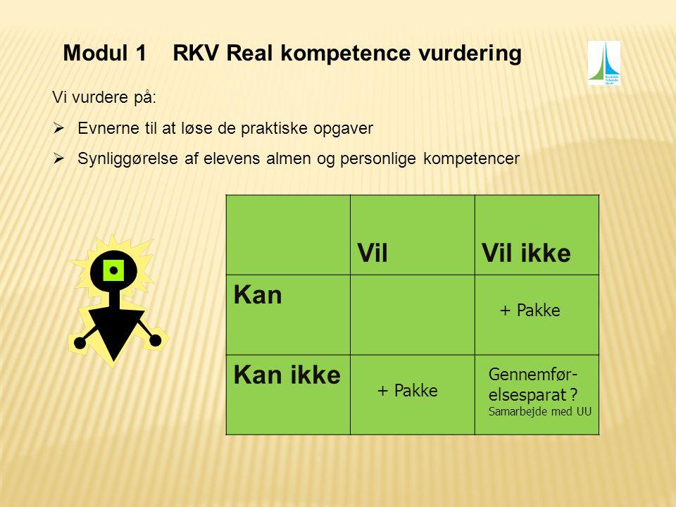Vil Vil ikke Kan Kan ikke Modul 1 RKV Real kompetence vurdering