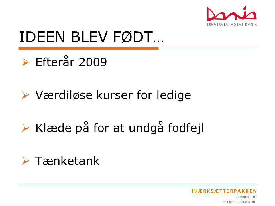 IDEEN BLEV FØDT… Efterår 2009 Værdiløse kurser for ledige