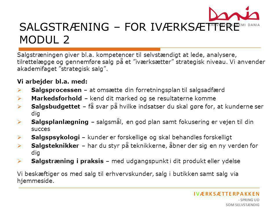 SALGSTRÆNING – FOR IVÆRKSÆTTERE MODUL 2