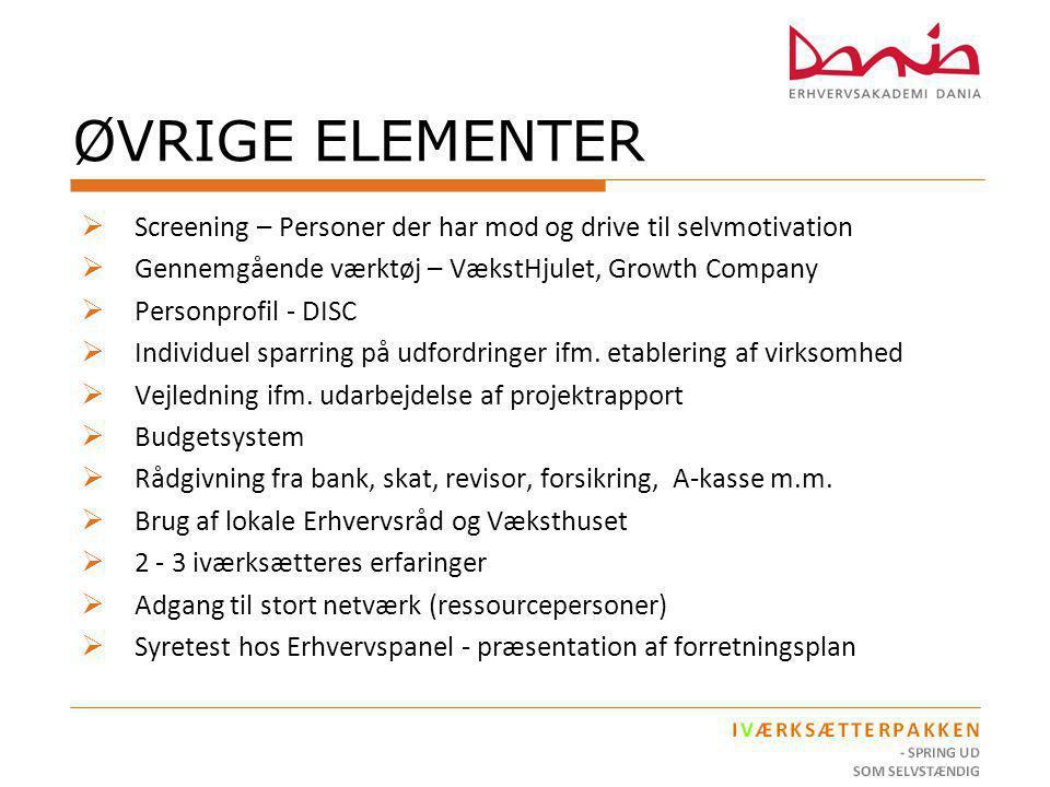 ØVRIGE ELEMENTER Screening – Personer der har mod og drive til selvmotivation. Gennemgående værktøj – VækstHjulet, Growth Company.