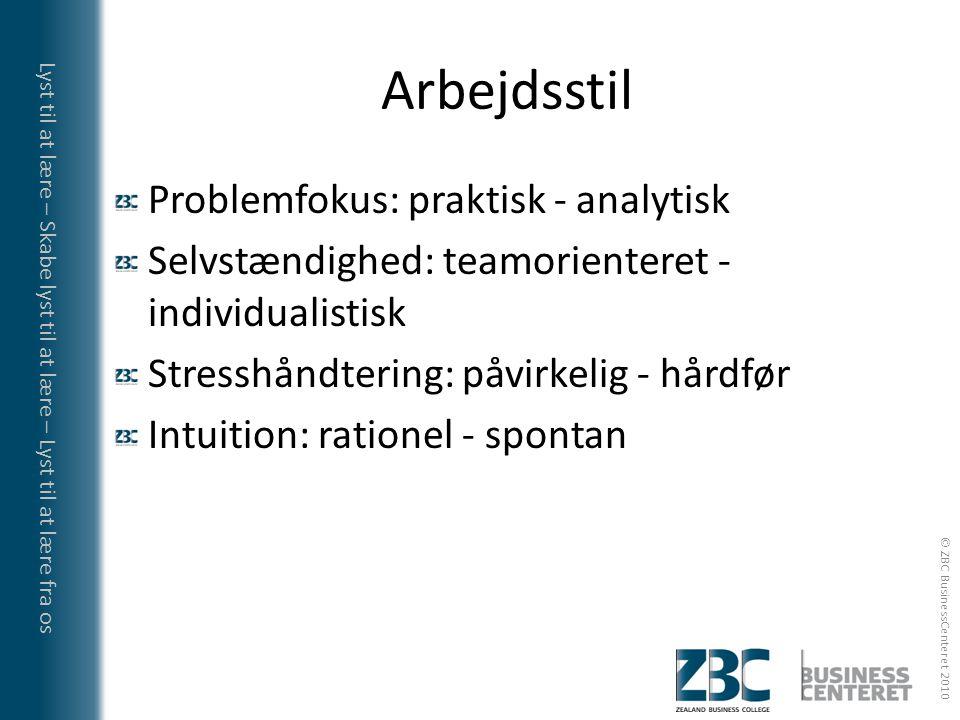 Arbejdsstil Problemfokus: praktisk - analytisk