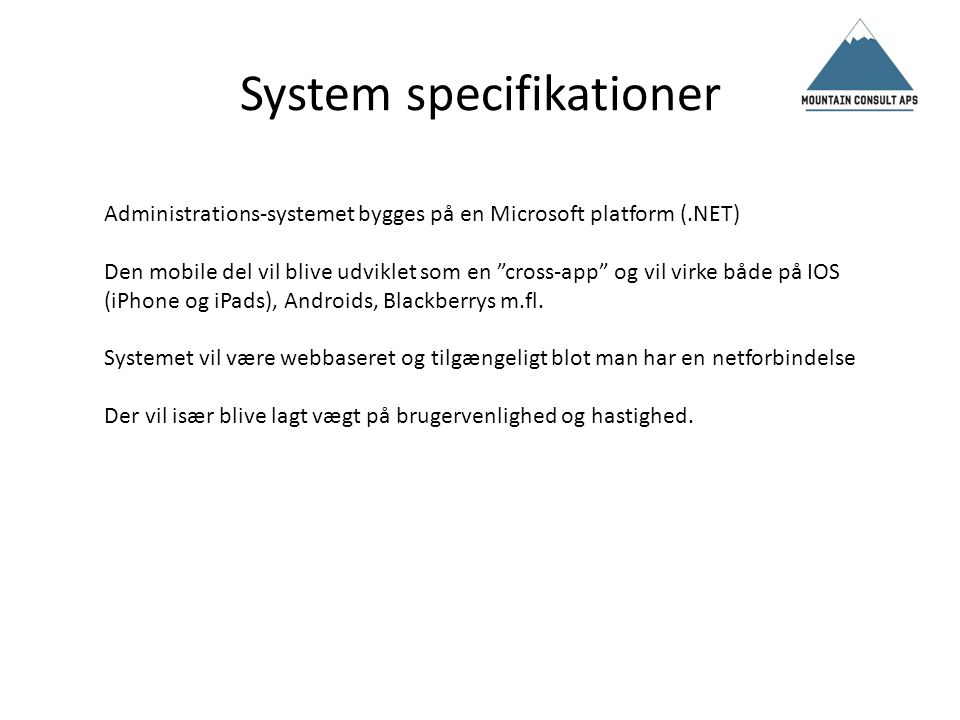 System specifikationer