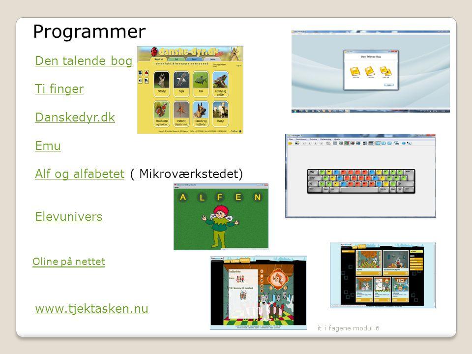 Programmer Den talende bog Ti finger Danskedyr.dk Emu
