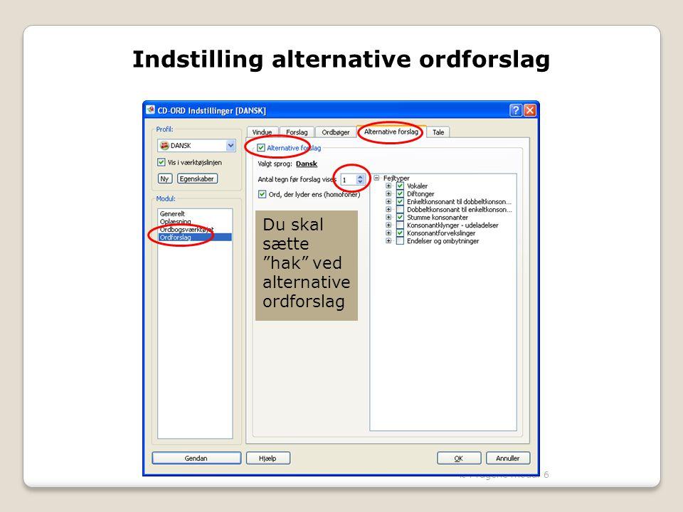 Indstilling alternative ordforslag