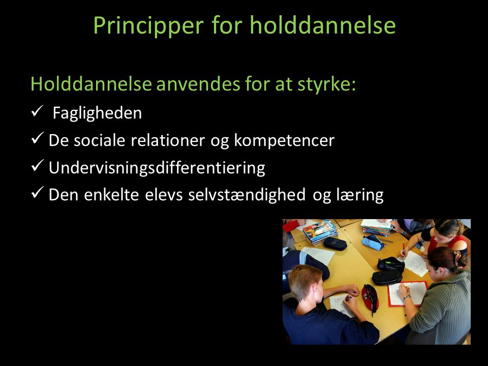 Principper for holddannelse
