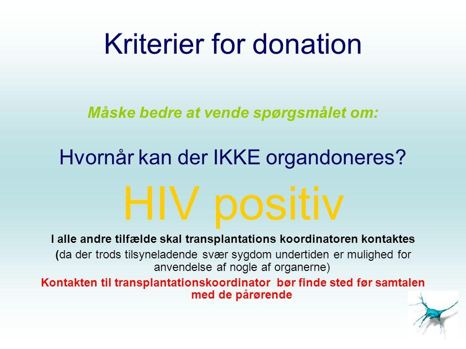 Kriterier for donation