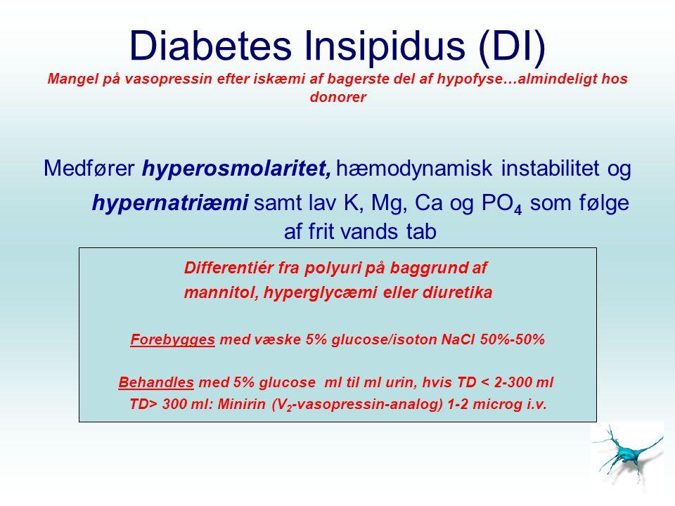 Diabetes Insipidus (DI) Mangel på vasopressin efter iskæmi af bagerste del af hypofyse…almindeligt hos donorer