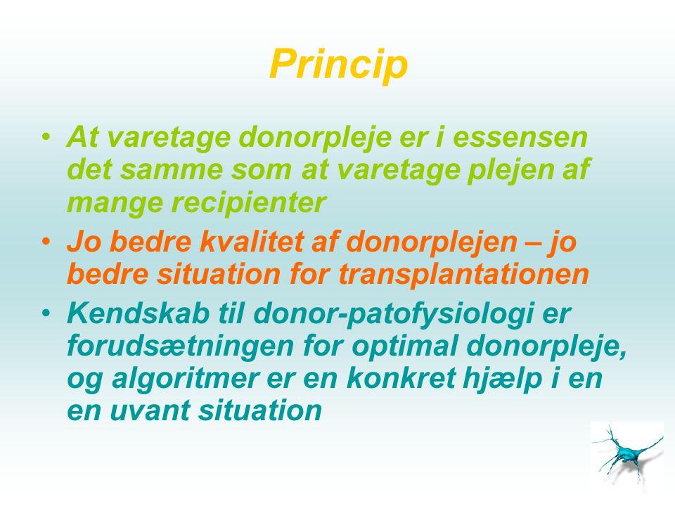 Princip At varetage donorpleje er i essensen det samme som at varetage plejen af mange recipienter.