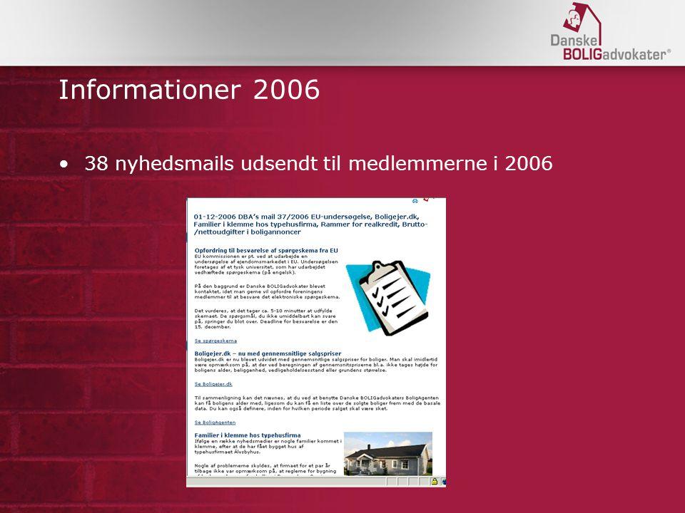 Informationer 2006 38 nyhedsmails udsendt til medlemmerne i 2006