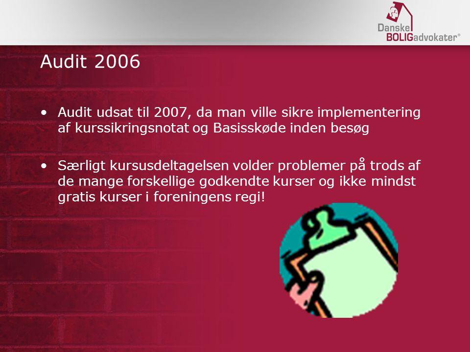 Audit 2006 Audit udsat til 2007, da man ville sikre implementering af kurssikringsnotat og Basisskøde inden besøg.