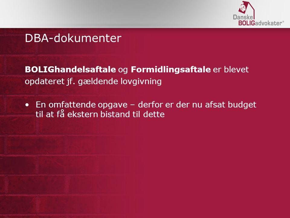 DBA-dokumenter BOLIGhandelsaftale og Formidlingsaftale er blevet