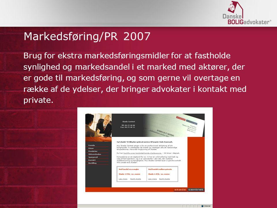 Markedsføring/PR 2007 Brug for ekstra markedsføringsmidler for at fastholde. synlighed og markedsandel i et marked med aktører, der.