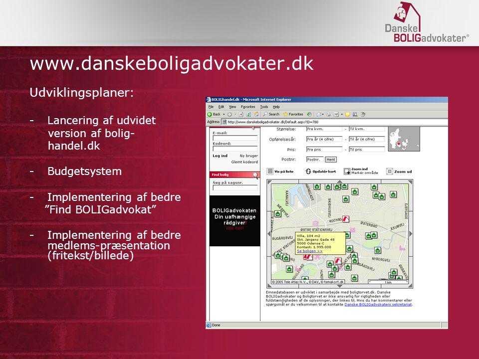 www.danskeboligadvokater.dk Udviklingsplaner: Lancering af udvidet