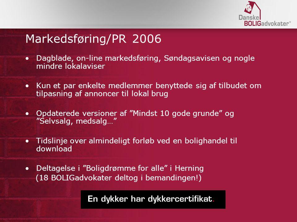 Markedsføring/PR 2006 Dagblade, on-line markedsføring, Søndagsavisen og nogle mindre lokalaviser.