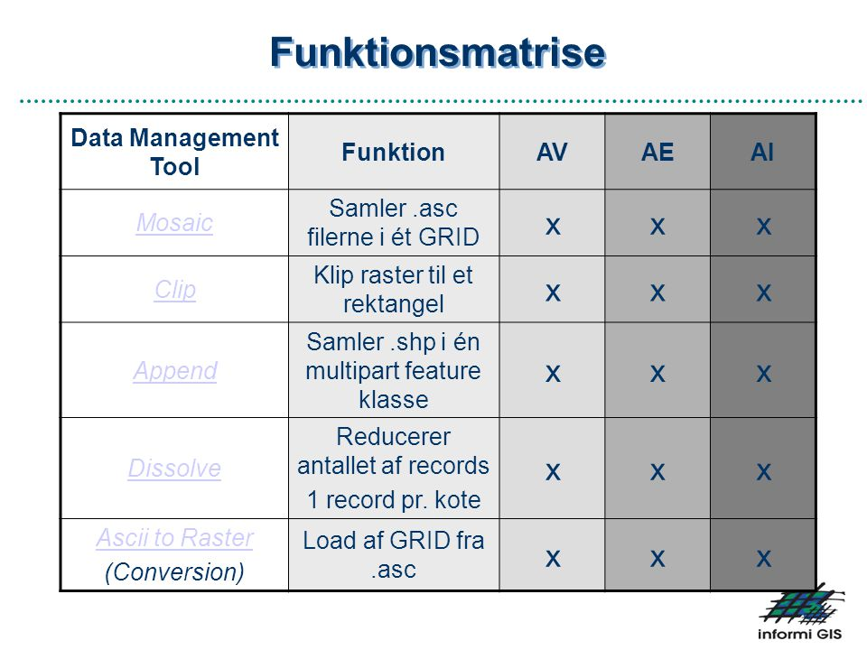 Funktionsmatrise x Data Management Tool Funktion AV AE AI Mosaic