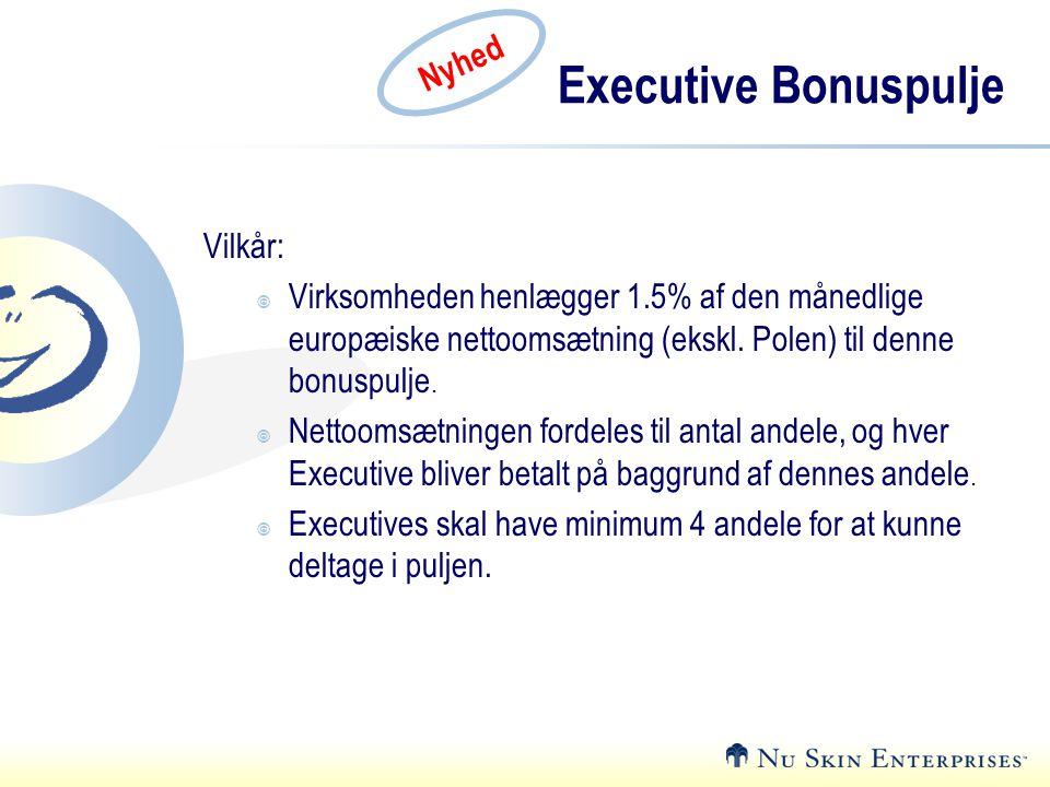Executive Bonuspulje Nyhed Vilkår: