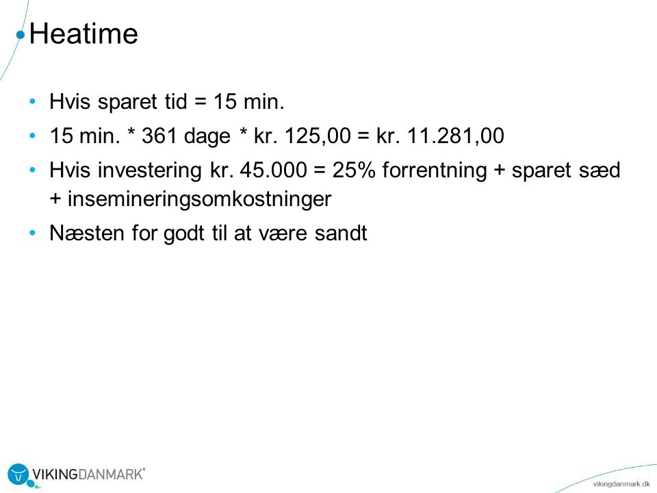 Heatime Hvis sparet tid = 15 min.