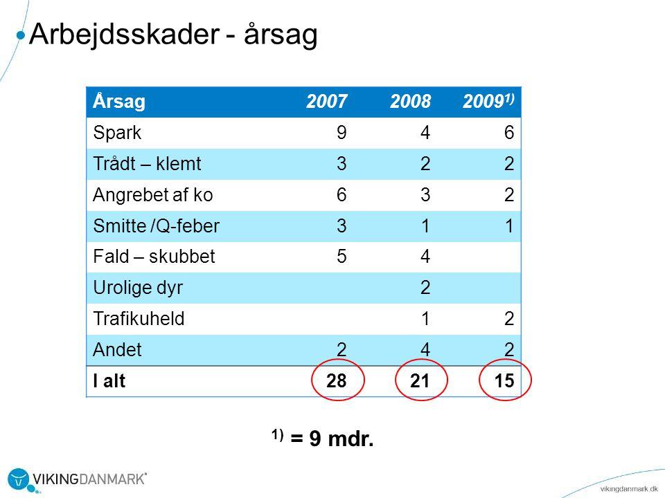 Arbejdsskader - årsag 1) = 9 mdr. Årsag 2007 2008 20091) Spark 9 4 6