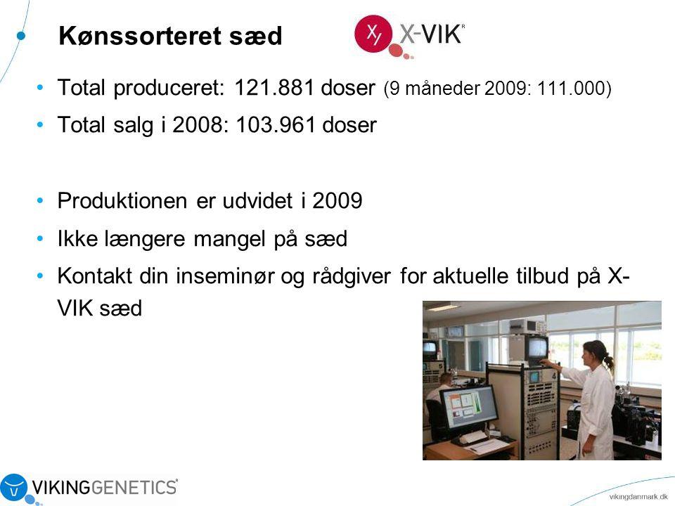 Kønssorteret sæd Total produceret: 121.881 doser (9 måneder 2009: 111.000) Total salg i 2008: 103.961 doser.