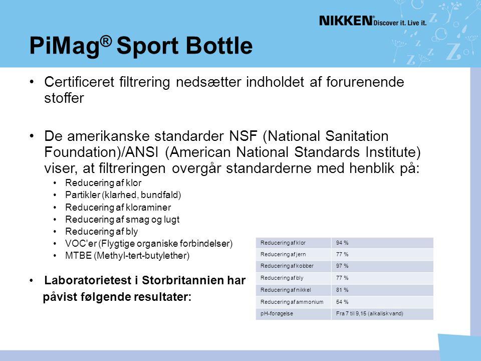 PiMag® Sport Bottle Certificeret filtrering nedsætter indholdet af forurenende stoffer.