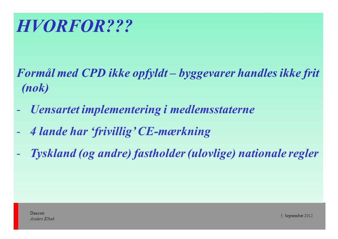 HVORFOR Formål med CPD ikke opfyldt – byggevarer handles ikke frit (nok) Uensartet implementering i medlemsstaterne.