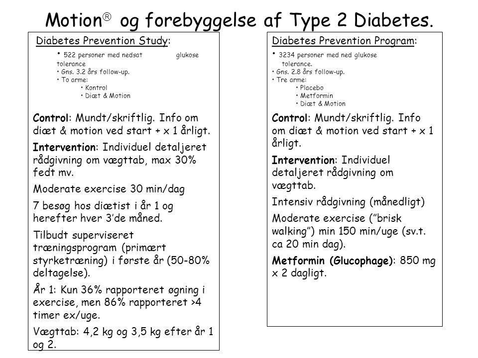 Motion og forebyggelse af Type 2 Diabetes.