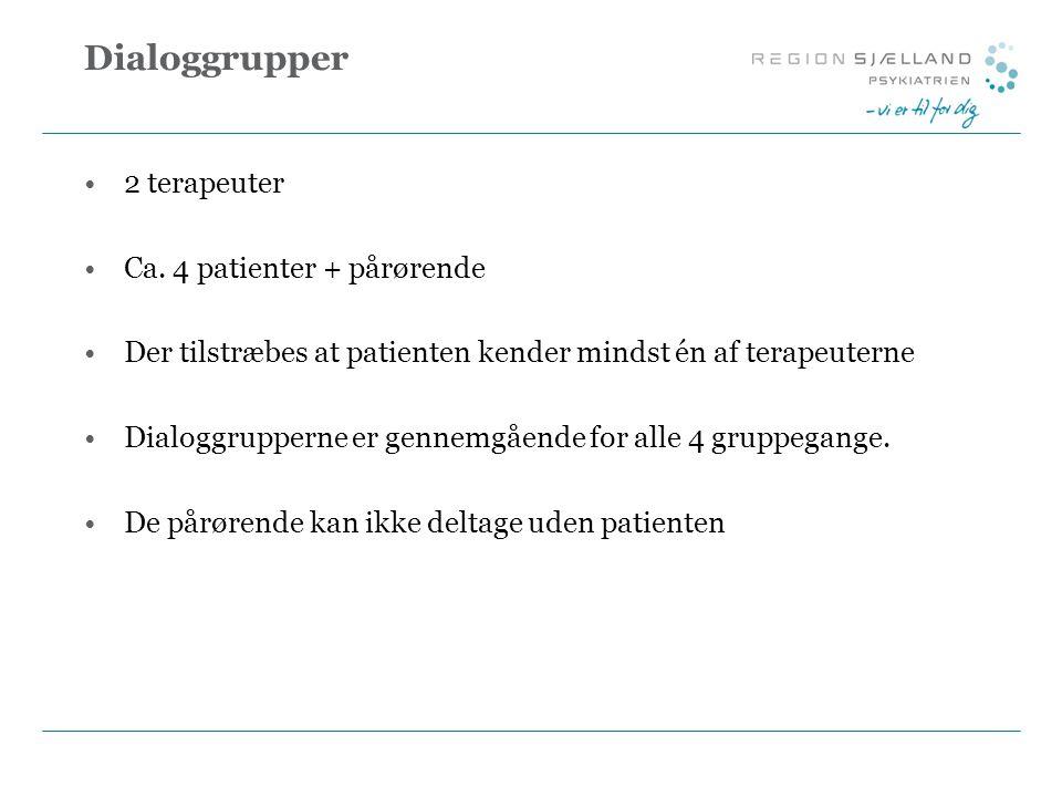 Dialoggrupper 2 terapeuter Ca. 4 patienter + pårørende