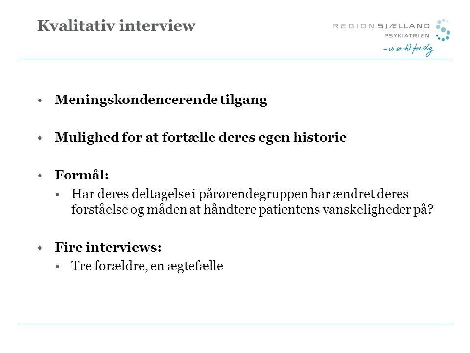 Kvalitativ interview Meningskondencerende tilgang