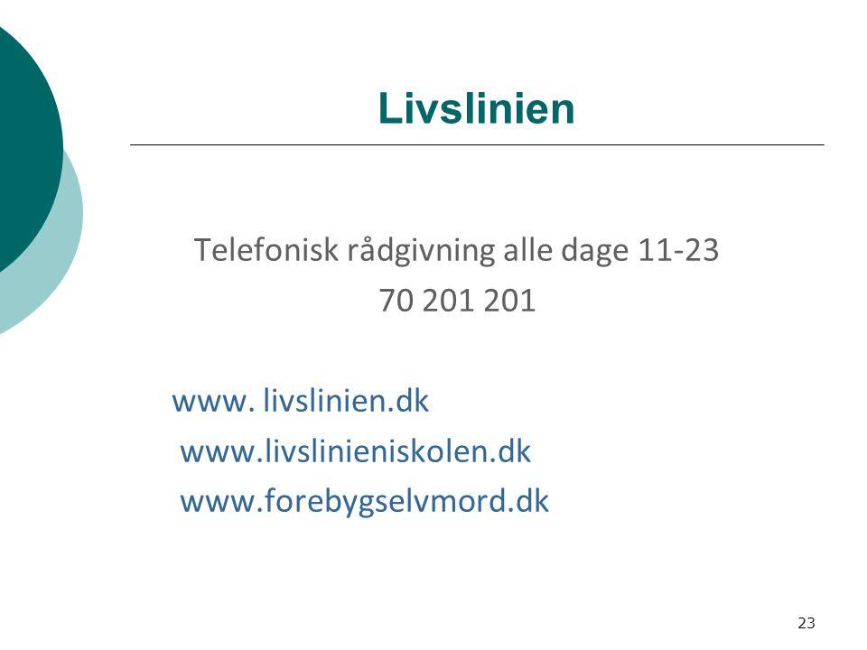 Livslinien Telefonisk rådgivning alle dage 11-23 70 201 201 www.