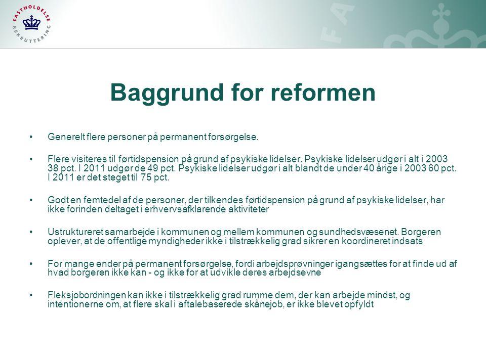 Baggrund for reformen Generelt flere personer på permanent forsørgelse.