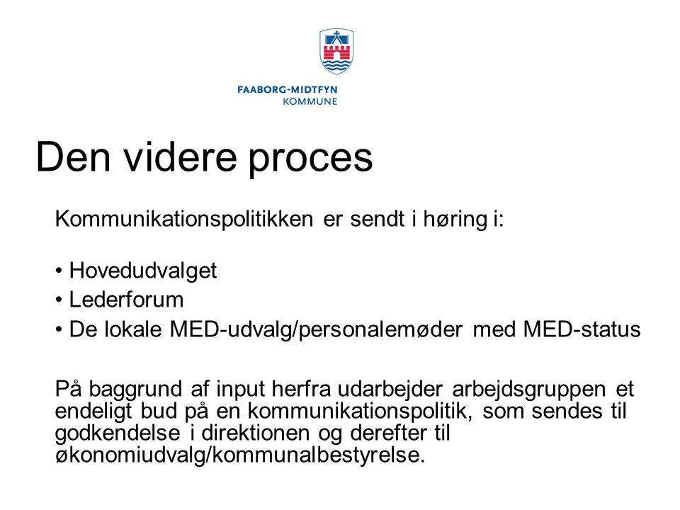 Den videre proces Kommunikationspolitikken er sendt i høring i: