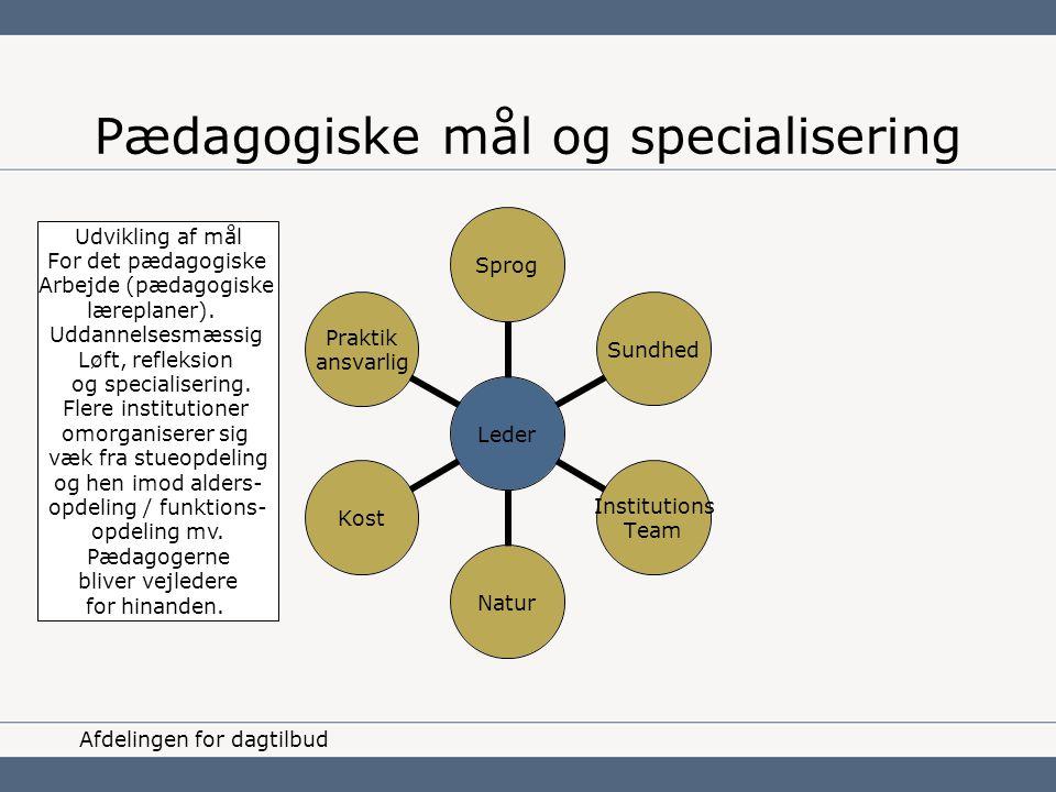 Pædagogiske mål og specialisering