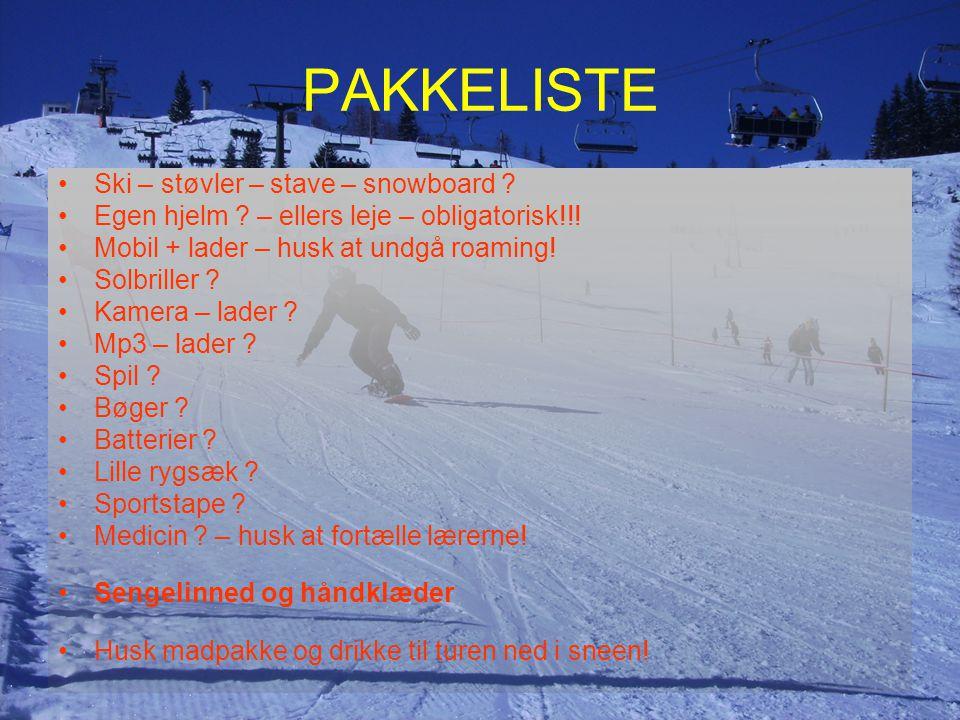 PAKKELISTE Ski – støvler – stave – snowboard