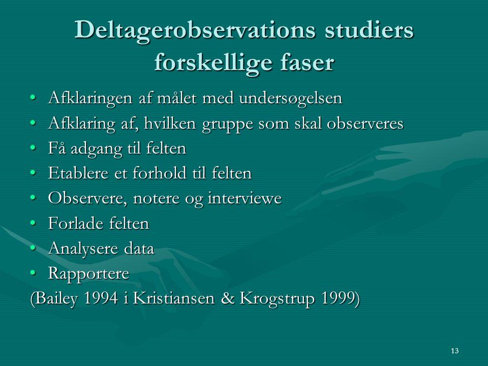 Deltagerobservations studiers forskellige faser