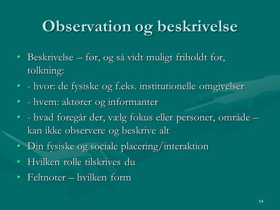 Observation og beskrivelse