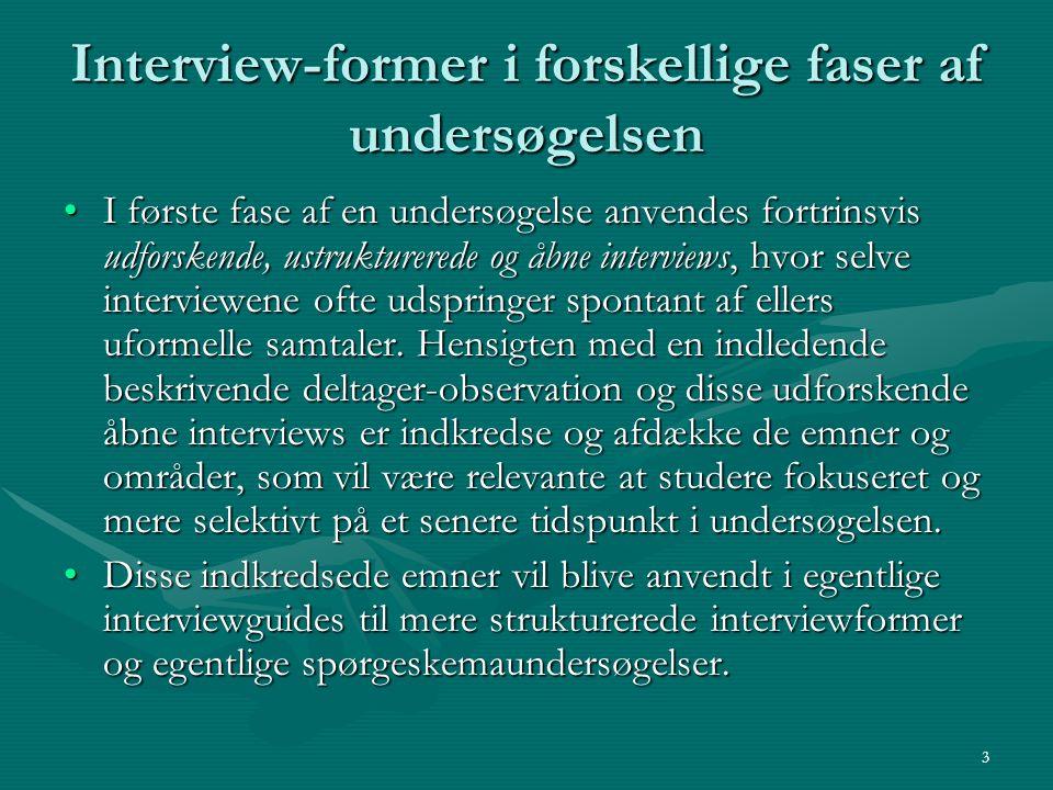Interview-former i forskellige faser af undersøgelsen