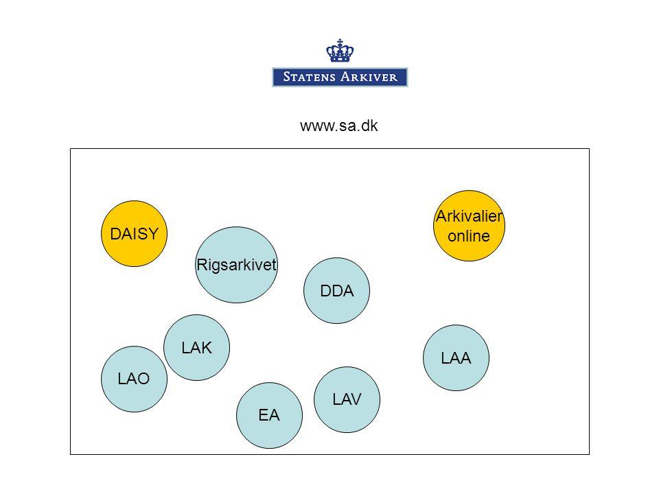 www.sa.dk Arkivalier online DAISY Rigsarkivet DDA LAK LAA LAO LAV EA