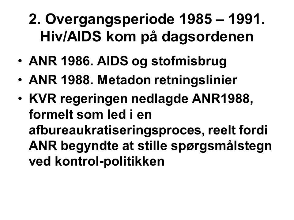 2. Overgangsperiode 1985 – 1991. Hiv/AIDS kom på dagsordenen