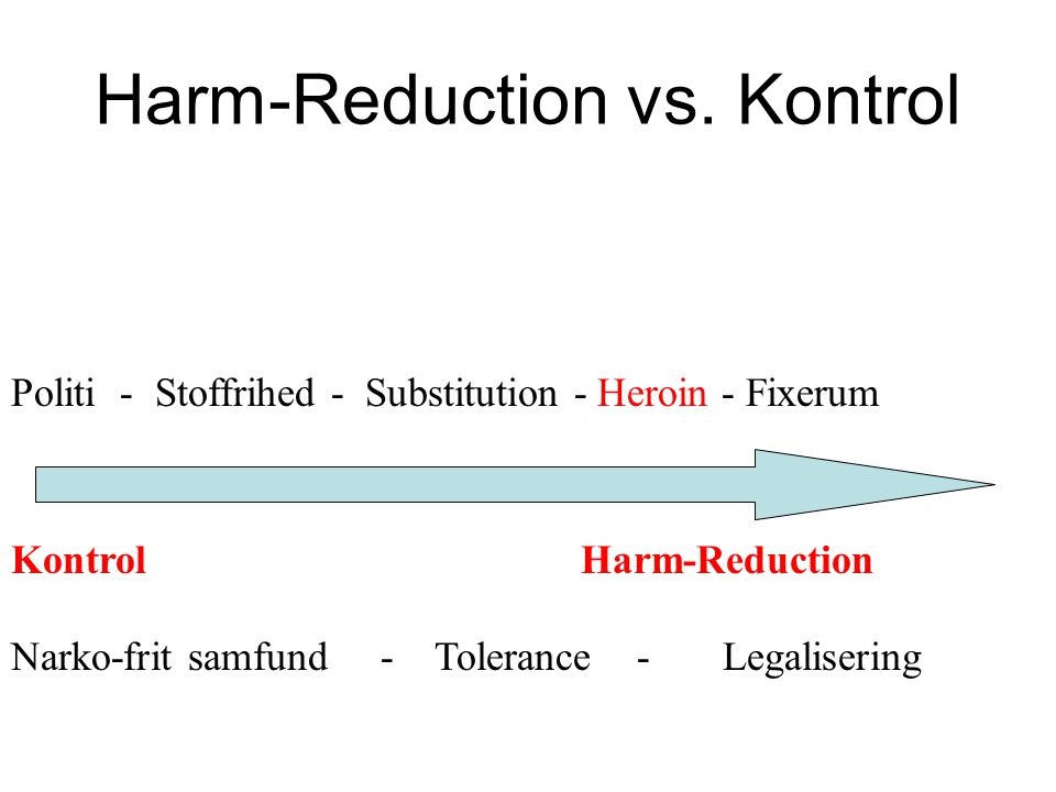 Harm-Reduction vs. Kontrol