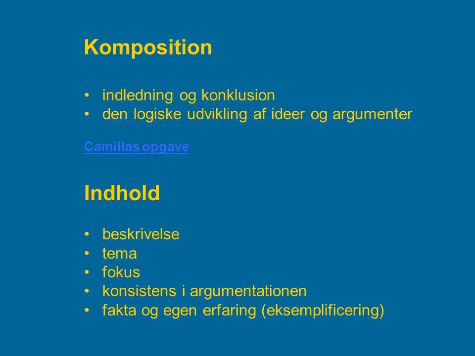Komposition Indhold indledning og konklusion