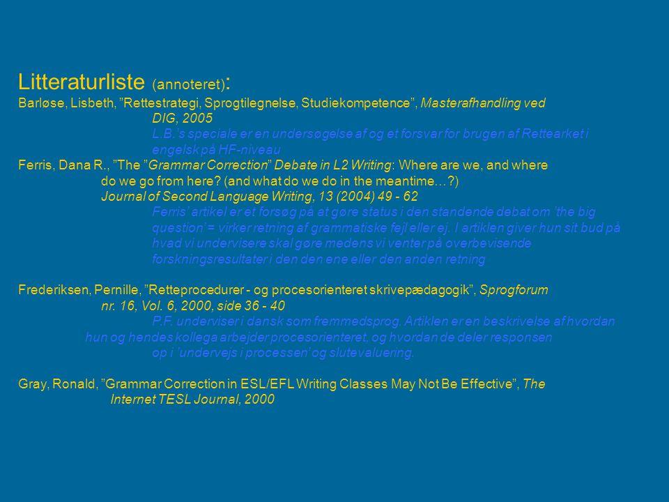 Litteraturliste (annoteret):
