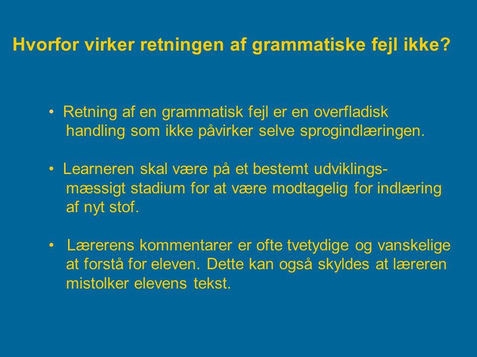 Hvorfor virker retningen af grammatiske fejl ikke