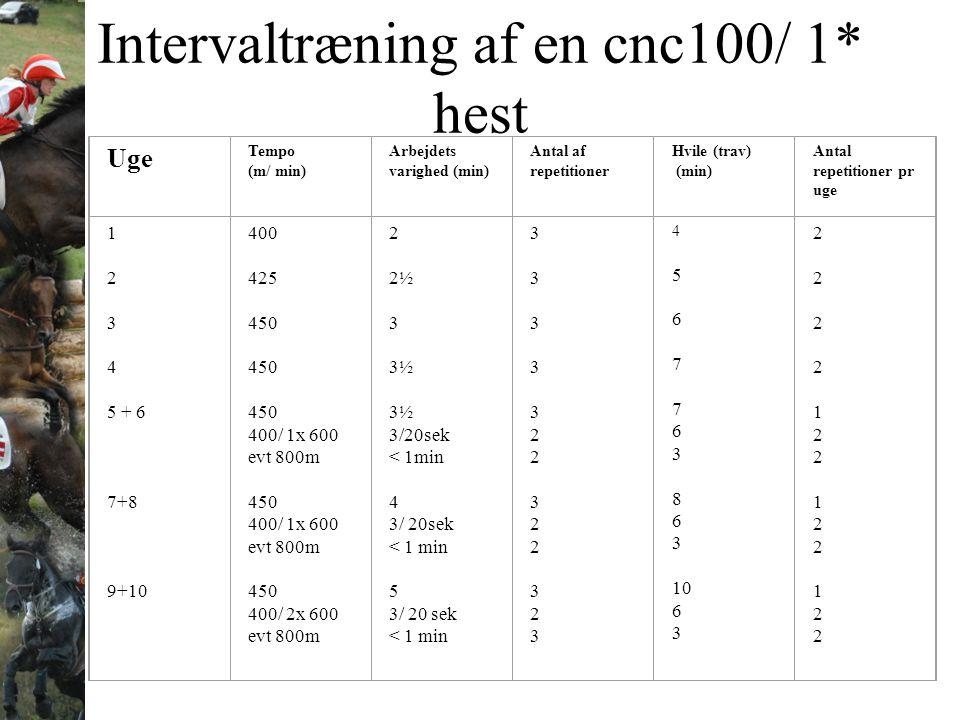 Intervaltræning af en cnc100/ 1* hest