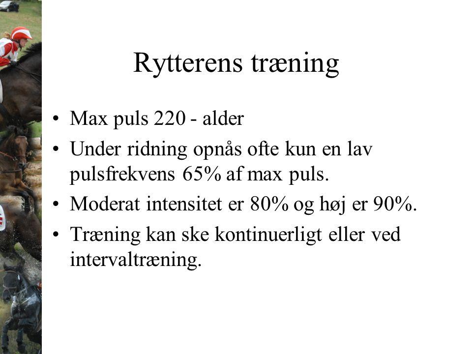 Rytterens træning Max puls 220 - alder
