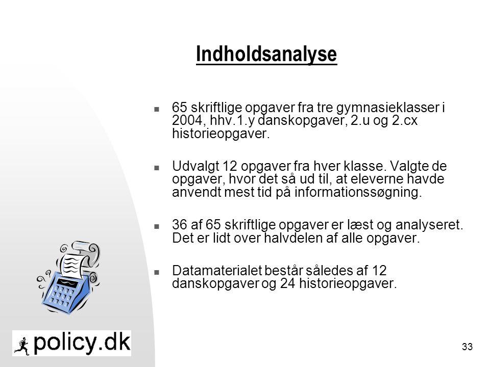Indholdsanalyse 65 skriftlige opgaver fra tre gymnasieklasser i 2004, hhv.1.y danskopgaver, 2.u og 2.cx historieopgaver.