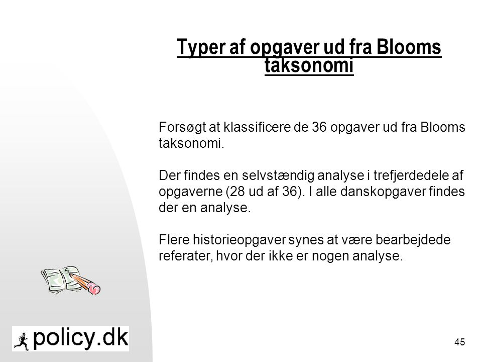 Typer af opgaver ud fra Blooms taksonomi