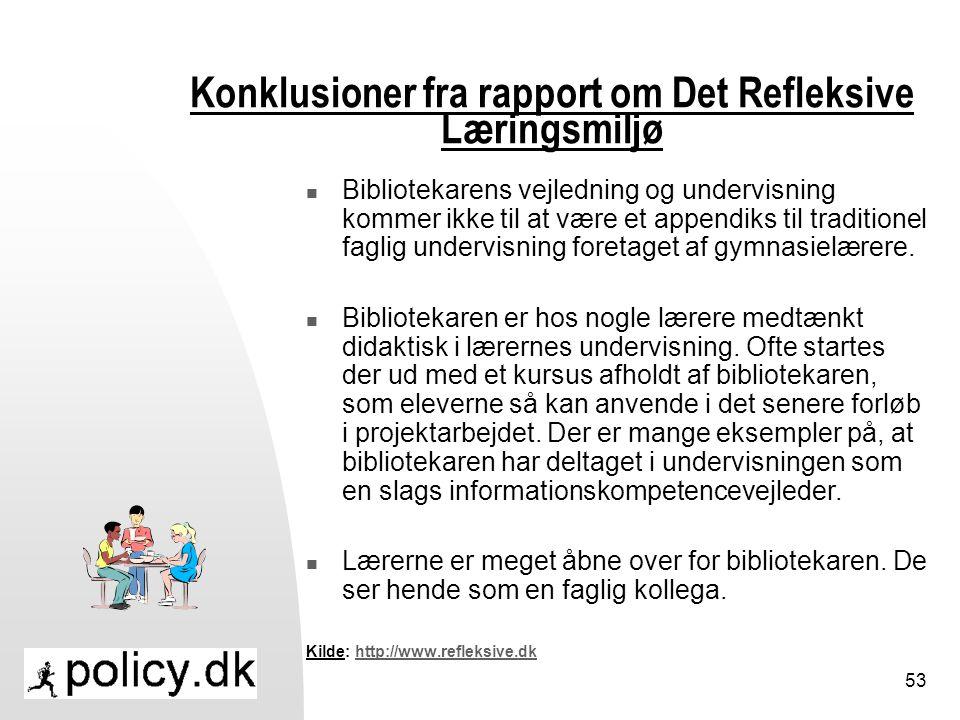 Konklusioner fra rapport om Det Refleksive Læringsmiljø