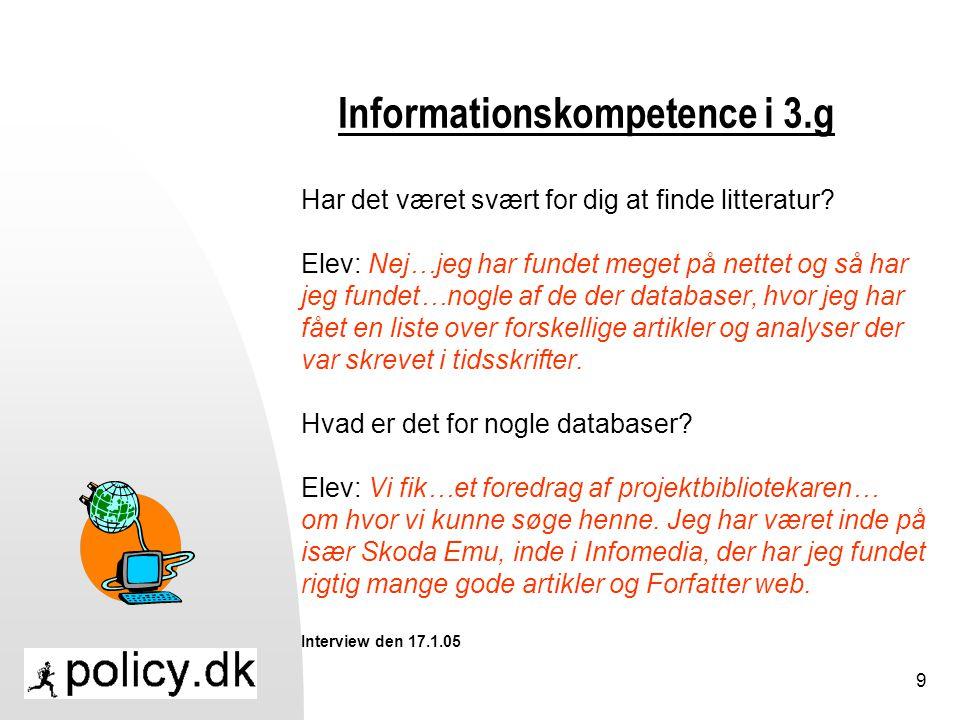 Informationskompetence i 3.g