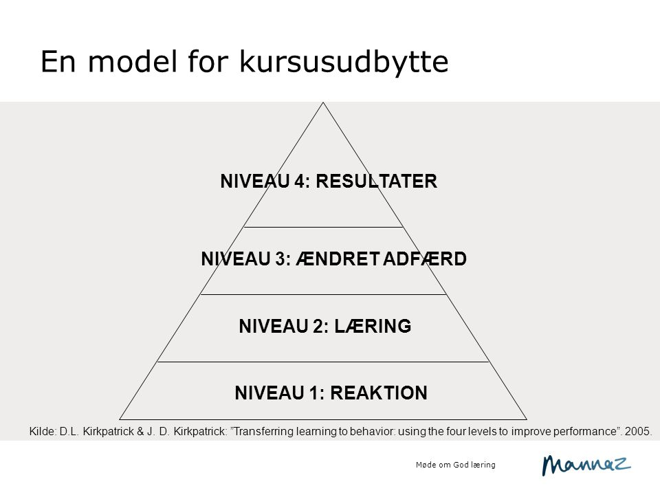 En model for kursusudbytte